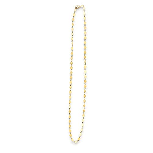 14k Yellow Gold Polished Mirror Circle Links Pebble Necklace, 18
