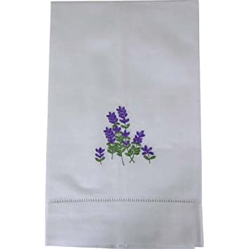 Amazon White Fingertip Towel With Lavender Embroidery And