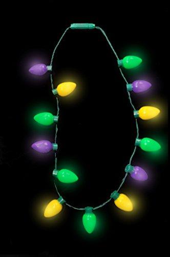 [Mardi Gras Christmas Flashing Retro Jumbo Large Bulb Necklace Light Up LED Beads] (Jumbo Mardi Gras Beads)