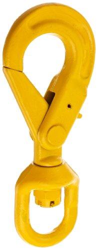 Self Locking Hook - Indusco 47400812 Grade 80 Drop Forged Steel Swivel Self-Locking Hook, Painted Finish, 9/32