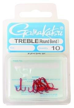 Treble Bend Round Hook Gamakatsu - Gamakatsu 47305 Round Bend Treble Hooks (10 Pack), Size 10, Red