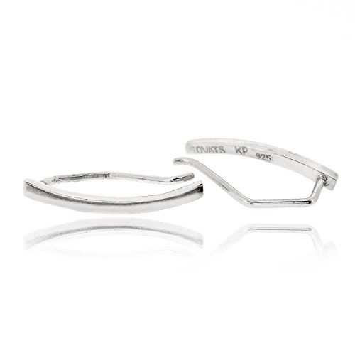 - Sovats Bar Curved Earring For Women 925 Sterling Silver Rhodium Plated - Simple, Stylish Climber Earring&Trendy Nickel Free Earring