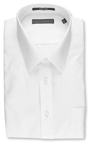 (Damon Big & Tall Ultra Pinpoint Collar Dress Shirt-WHITE-17 38/39)