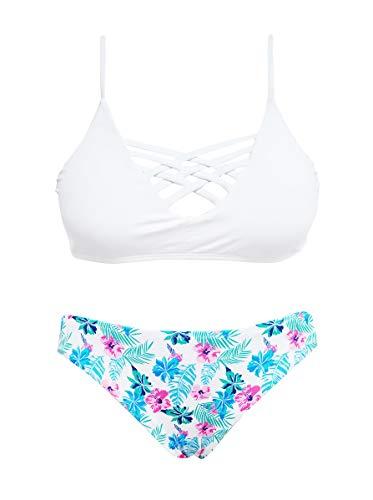 SHEKINI Women's Floral Print Swim Bottom Cutout Spaghetti Strap Halter Top Two Piece Strappy Bikini Swimsuit (Small/(US 4-6), Venice White)