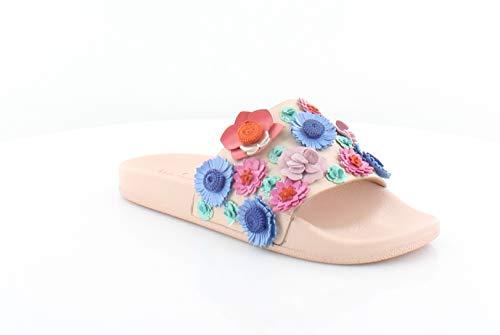 Kate Spade Womens Skye Leather Floral Applique Slide Sandals Pale Pink 6.5 M US
