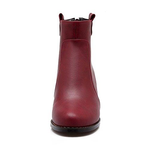 AmoonyFashion Womens Closed-toe PU Zipper Kitten-heels Ankle-high Boots Red 6J6HR