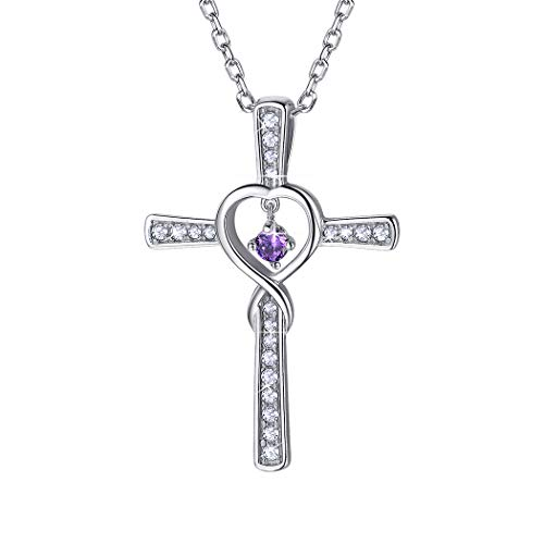 Birthstone Cross Necklace Sterling Silver February Amethyst Birthday Gift CZ Love Heart Infinity Necklace for - February Cross Birthstone