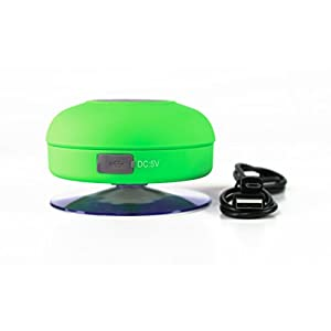 Splash Tunes Shower Speaker – Waterproof Bluetooth Hands-Free Shower Speaker with Built-In Mic and Suction Cup – Green