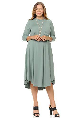 Pastel by Vivienne Women\'s Swing Midi Dress Plus Size XX-Large Sage
