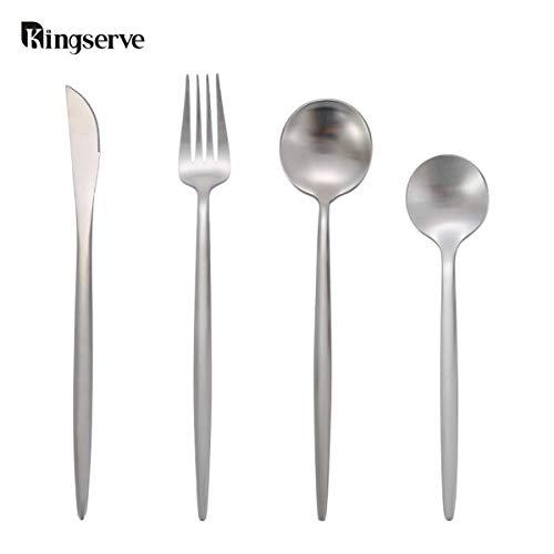 KingServe Flatware Cutlery Set,16-Pieces Stainless Steel Tableware Sets,Kitchen Dinner Utensils Silverware Set Service for 4 With Fork Spoons Knife Modern Flatware Dishwasher Safe(Eternal Silver)