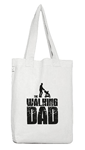 ShirtStreet Vater Papa Jutebeutel Stoffbeutel Earth Positive mit Walking Dad Motiv White IMFrctog
