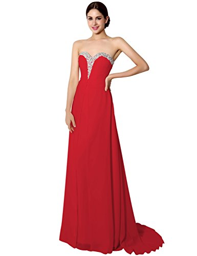 [Women's Long Chiffon A-line Beading Bridesmaid Dress Prom Gown Red US16] (Plus Size Formal Dresses)
