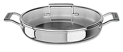 KitchenAid KC2T35BRST Tri-Ply Stainless Steel 3.5 quart Braiser with Lid - Stainless Steel, Medium, Stainless Steel Finish