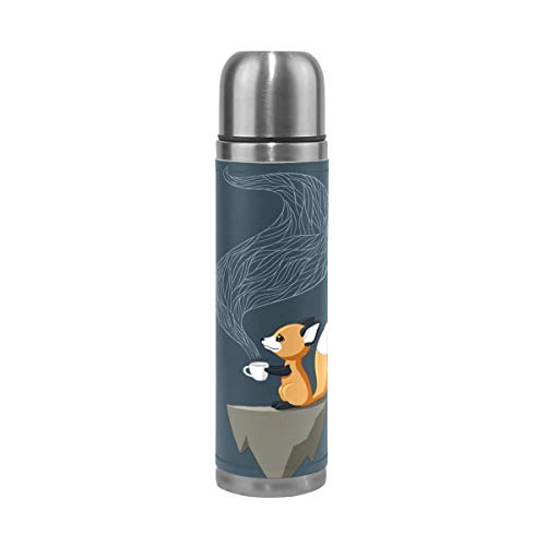 WangH Stainless Steel Fantasy Animal Fox Water Bottle Thermos- Insulated Vacuum Cup, Leather Cover 17 oz Travel Mug for Kids Adults ()