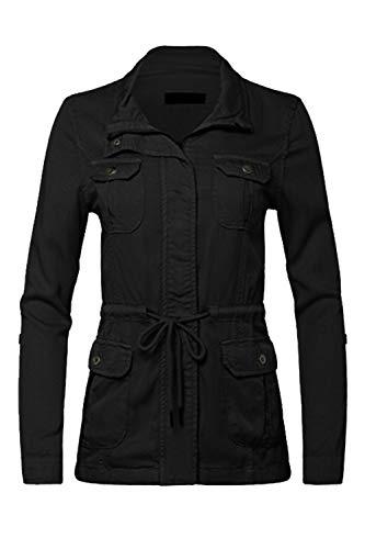 FASHION BOOMY Womens Zip Up Military Anorak Jacket W/Hood (Medium, C-Black)