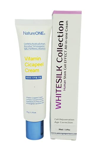 {New DESIGN}【WHITESILK-NatureOne by Anterogenpartners┃Cell Rejuvenation & Vitamin Cicapeel Cream with 9 Superfoods】Powered by Human Stem Cell & Bio Micro-Spicule Peeling Technology┃(50ml/1.69oz)