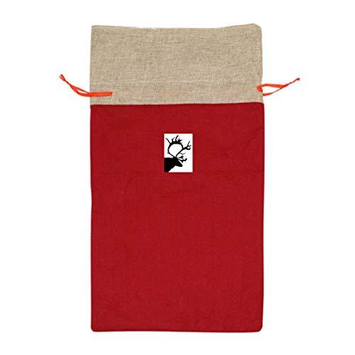 VAbBUQBWUQ Buffalo Plaid Moose Lumberjack Santa Clause Christmas Oversize Drawstring Gift Bags Holiday Wrapping Extra Large Jumbo Huge Goodie Party Favors Reusable Durable Fabric -