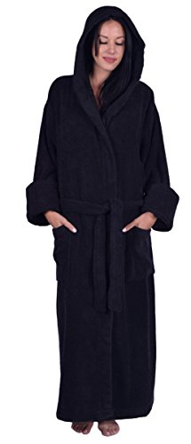 (Turquoise Textile Terry Hooded Unisex Robe, 100% Turkish Natural Soft Cotton, Made in Turkey (Black))