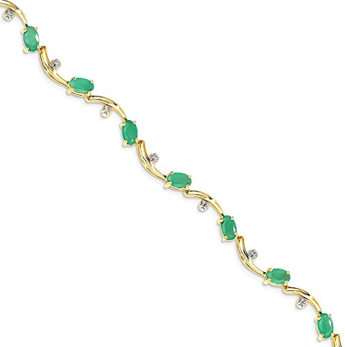 ICE CARATS 14k Yellow Gold Diamond Green Emerald Oval Bracelet 7 Inch Gemstone by ICE CARATS