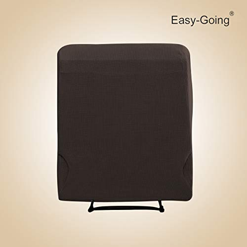EasyGoing Recliner Stretch Sofa Slipcover Sofa Cover 4Pieces Furniture Protector Couch Soft with Elastic Bottom KidsPolyester Spandex Jacquard Fabric Small ChecksReclinerChocolate