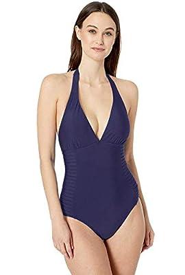 Calvin Klein Side-Pleated Halter One-Piece Swimsuit Navy 10