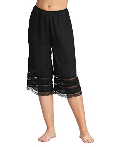 - Sexy Sleepwear Pants Lace Pettipants Half Slips Lace Trim(L,Black)