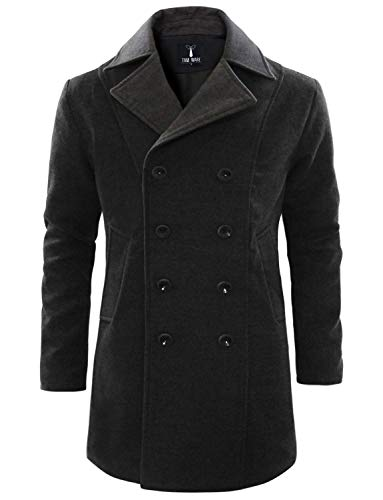 (TAM WARE Men's Trendy Double Breasted Trench Coat TWCC12-CHARCOAL-US XL)