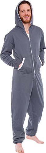 Ross Michaels Men's Hooded Jumpsuit - Zip up One Piece Pajamas by (Grey, Medium) by Ross Michaels