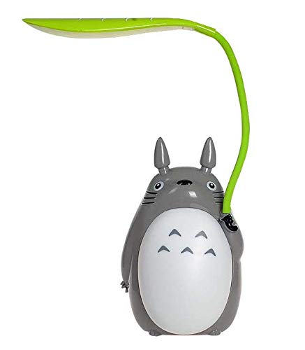 Totoro Leaf LED Night Light [White, Green], Children Reading Night Light, Night Desk lamp, USB Power Supply (White Belly) - Leaves Lamp