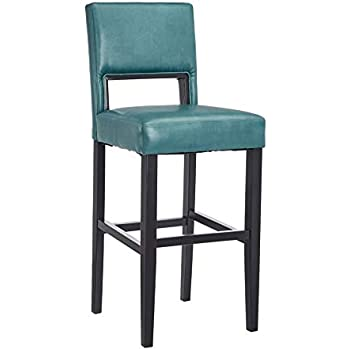 Amazon Com Linon Vega Bar Stool 19 Quot W X 20 Quot D X 44 5 Quot H Blue Kitchen Amp Dining