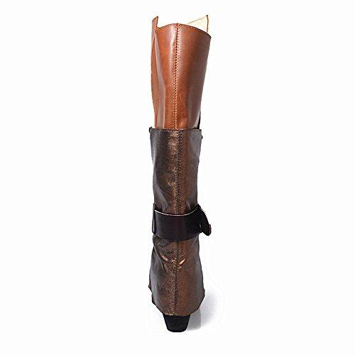 Scarpe Da Donna Con Rivetti In Pelle Con Fibbie Multi Colore Stivali Alti Con Tacco Largo