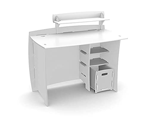 Legaré Kids Furniture Classic Series Collection, No Tools Assembly 43-Inch Complete Desk System with File Cart, White