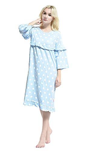 Mujeres Moda 3 Cómoda Las Ropa Vintage 4 Suelta Manga Elegante De Interior Redondo Pijamas Impresos Azul Camisón Cuello pqExUU