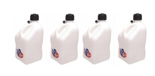 White Brothers Fluid - 4 Pack VP 5 Gallon Square White Racing Utility Jugs