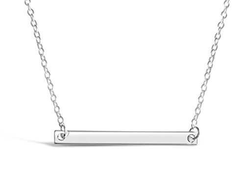 - Rosa Vila Thin Minimalist Bar Necklace, Dainty Necklace, Bar Necklaces for Women, Horizontal Bar Necklace, Gold Bar Necklace, Rose Gold Bar Necklace or Silver Bar Necklace, Dainty Jewelry, (Silver)