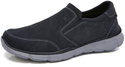 (CAMEL CROWN Mens Leather Loafer Comfortable Sneakers Lightweight Slip On Walking Shoes Casual House Shoes Slippers for Men Dark Grey Size 10.5)
