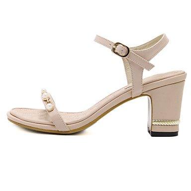 Luce YCMDM donne sandali primavera-estate Soles similpelle casuale tacco grosso nero Almond , almond , us7.5 / eu38 / uk5.5 / cn38