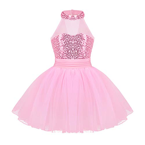 (TiaoBug Girls Sequined Camisole Ballet Dance Tutu Dress Sweetheart Leotard (8-10, Pink (mock neck)))