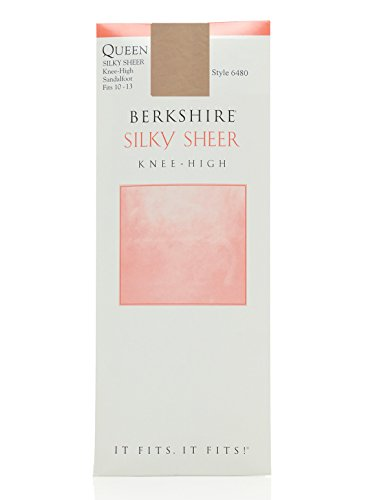 Knee Highs Sandalfoot Toe - Berkshire Women's Plus-Size Queen Silky Sheer Knee High - Sandalfoot Toe 6480, Nude, 10-13