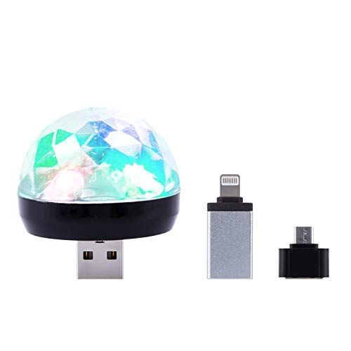 Mini Disco USB Ball Light, Party LED Magic Portable DJ Light with Sound Control for Kids/Pub/Show/Club/Christmas/Birthday/Wedding/Karaoke - IOS&Android Adapter, 1 Pack, Black