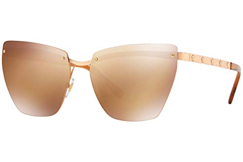 (Versace VE2190 Sunglasses Pink Gold w/Orange Gold Mirror Lens 58mm 14127T VE 2190)