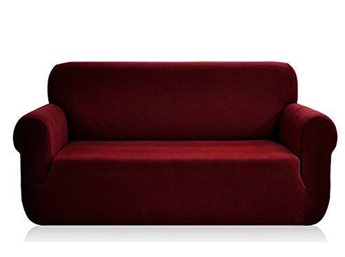 CHUN YI 1-Piece Jacquard High Stretch Sofa Slipcover, Polyester and Spandex 3 Seater Cushion Couch Cover Coat Slipcover, Furniture Protector Cover for Sofa and Couch (Sofa, Wine) from CHUN YI