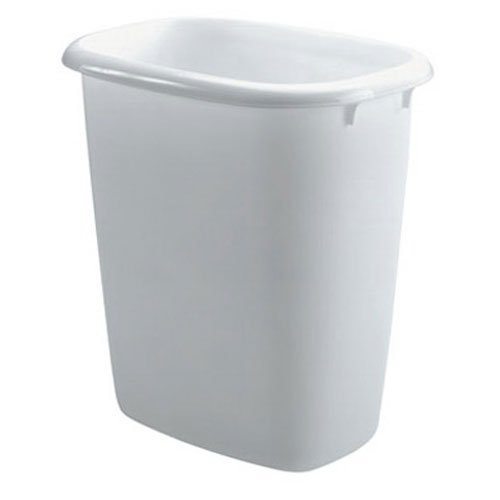 Rubbermaid Vanity Wastebasket, 14 Quart, White (Plastic Wastebasket Vanity)
