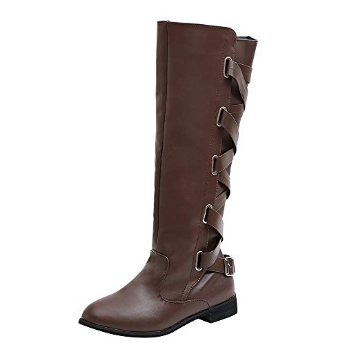 - ✔ Hypothesis_X ☎ Women's Stretchy Over The Knee Riding Boots Long Boots Buckle Roman Riding Knee High Cowboy Boots Coffee
