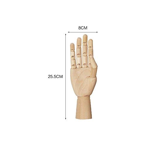 Aibada 10 Inch Wooden Articulated Hand Manikin Art Mannequin Hand Model for Drawing, Sketching, Painting,Decoration