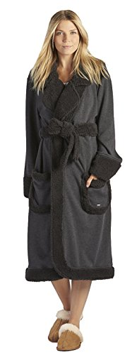 UGG Womens Duffield Deluxe Robe Black Bear Heather Size Medium