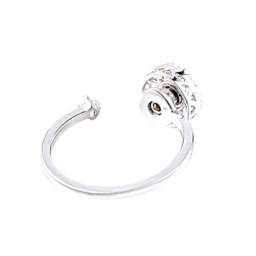 YVVO White Wrap Open Ring - Adjustable Spinner Cubic Zirconia Solitaire Wedding Engagement Ring Gift by YVVO (Image #2)