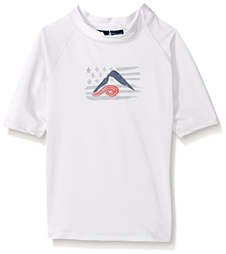 Kanu Surf Big Boys' Haywire UPF 50+ Sun Protective Rashguard Swim Shirt, Optic White, Small (8)