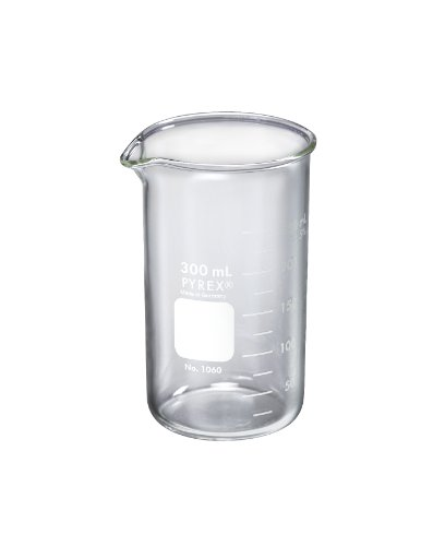 Corning Pyrex Borosilicate Glass Tall Form Berzelius Beakers with Spout, Graduated, 600ml Capacity (Case of 24)