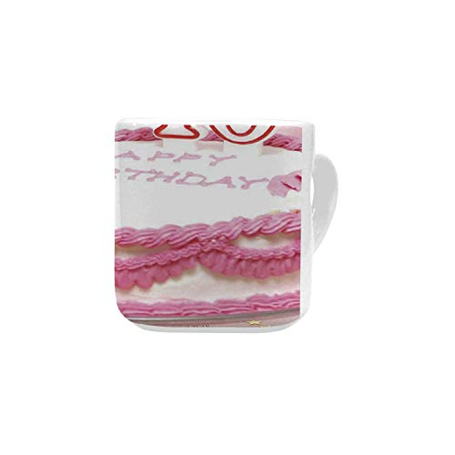 (40th Birthday Decorations White Heart Shaped Mug,Pink Cream Cake with Candlesticks Present Surprise Party for Home,2.56